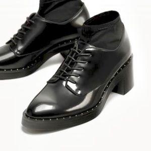 Zara heel Bluchers with sock & silver stud detail